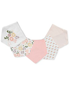 Baby Girls 5-Pack Printed Cotton Bandana Bibs