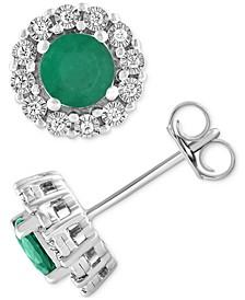 Emerald (1 ct. t.w.) & Diamond (1/10 ct. t.w.) Halo Stud Earrings in Sterling Silver (Also in Ruby & Sapphire)