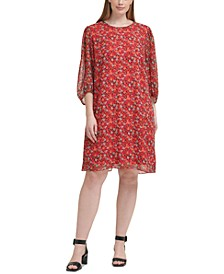Plus Size Floral-Print Balloon-Sleeve Dress