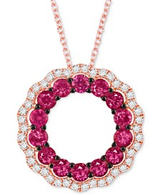 """Passion Ruby (1-1/8 ct. t.w.) & Vanilla Diamond (1/4 ct. t.w.) Wavy Circle 18"""" Pendant Necklace in 14k Rose Gold"""