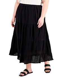 Plus Size Solid Tiered Pull-On Skirt