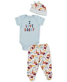 Baby Boys 3-Pc. Cotton Bodysuit, Pants & Hat Set