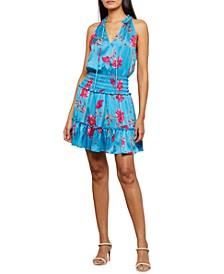 Floral-Print Smock-Waist Dress