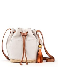 Sierra Leather Drawstring Bucket Bag
