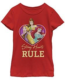 Big Girls Disney Princesses Strong Hearts Rule Short Sleeve T-shirt