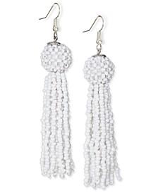 Silver-Tone White Seed Bead Tassel Drop Earrings, Created for Macy's