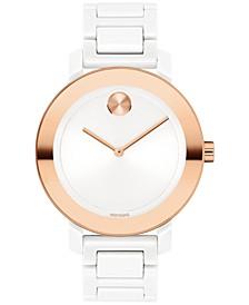 Women's Swiss White Ceramic Bracelet Watch 36mm