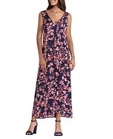 Women's Sleeve Less Cascade Maxi Dress