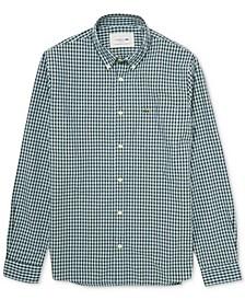 Men's Regular-Fit Small Check Cotton Poplin Shirt