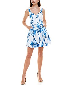 Juniors' Pleated Floral-Print Dress