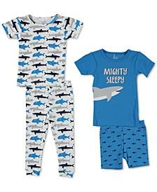 Baby Boys 4-Pc. Shark Printed Cotton Pajamas Set