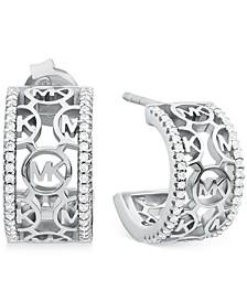 """Sterling Silver Openwork Logo Medium C-Hoop Earrings, 1.7"""""""