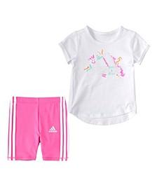 Little Girls Short Sleeve Badge Of Sport T-shirt and Bike Shorts Set