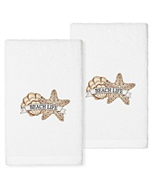 Textiles Beach Life Embroidered Luxury Hand Towels, Set of 2