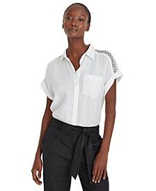 Plus Size Linen Short Sleeve Top