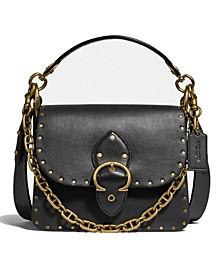 Beat Leather Shoulder Bag With Rivets