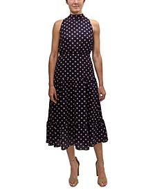 High-Neck Tiered Midi Dress
