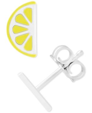 Enamel Lemon Wedge Stud Earrings in Sterling Silver