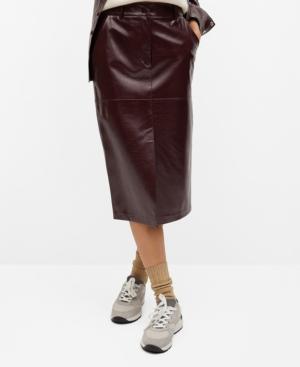 Mango Women's Pencil Patent Skirt In Dark Red