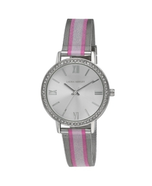 Women's Striped Rugby Multi-Tone Alloy Mesh Band Watch 36mm