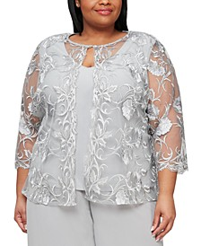 Plus Size Embroidered Layered-Look Top