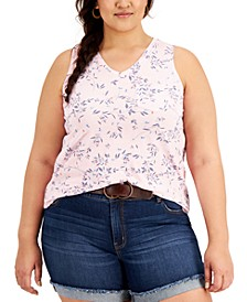 Plus Size V-Neck Pocket Tank, Created for Macy's