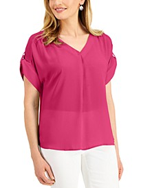 Petite V-Neck Roll-Tab Top, Created for Macy's