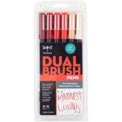 Tombow Dual Brush Pen Art Markers, 6-Pack