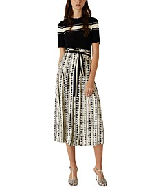 Printed Pleated Belted Culottes