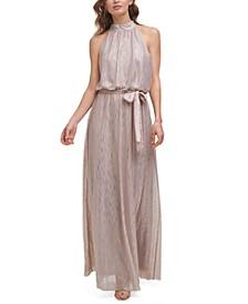 Metallic Blouson Belted Halter Gown