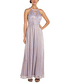 Petite Shimmer Cutout Halter Gown