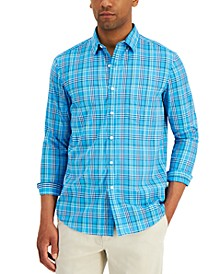 Men's Nylon Wicking Performance Stretch Plaid Shirt, Created for Macy's