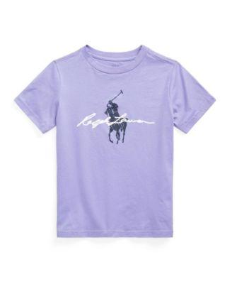 폴로 랄프로렌 Polo Ralph Lauren Little Boys Big Pony Logo Jersey Tee,Purple