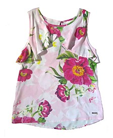 Big Girls Floral Print Soft Woven Tank Top
