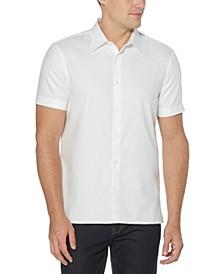 Men's Solid Textured Short Sleeve Button - Down Shirt