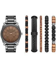Men's Gunmetal Bracelet Watch & Bracelets Gift Set 45mm