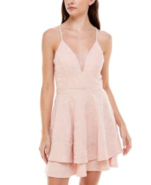 Juniors' Plunge-Neck Lace Fit & Flare Dress