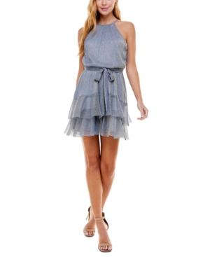 Juniors' Sparkly High-Neck Halter Dress