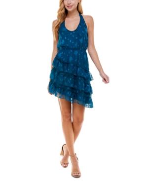 Juniors' Asymmetrical-Hem Halter Dress