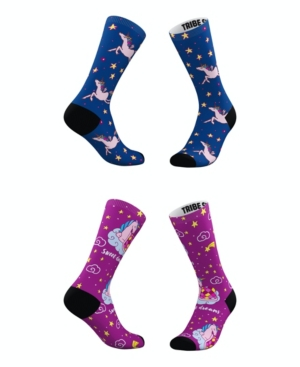 Tribe Socks Socks MEN'S AND WOMEN'S DREAMY UNICORN SOCKS, SET OF 2