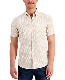 Men's Linen Leaf-Print Slim-Fit Shirt