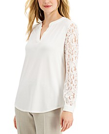 V-Neck Lace-Sleeve Top
