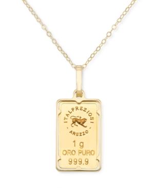 "One Gram Bar of Gold 18"" Pendant Necklace in 14k & 24K Gold"
