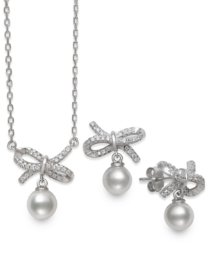 2-Pc. Set Cultured Freshwater Pearl (6mm) & Cubic Zirconia Ribbon Pendant Necklace & Matching Drop Earrings in Sterling Silver