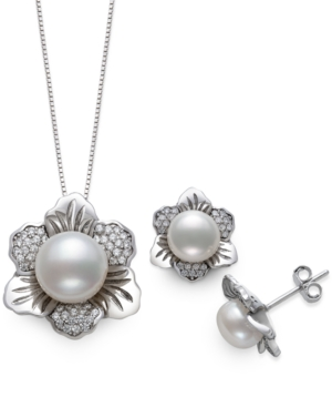 2-Pc. Set Cultured Freshwater Pearl (7 & 10mm) & Cubic Zirconia Flower Pendant Necklace & Matching Stud Earrings in Sterling Silver