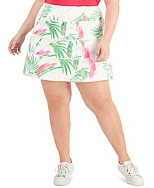 Plus Size Palms Tiered Skort, Created for Macy's