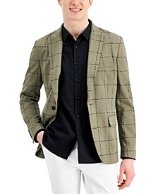Men's Classic-Fit Sketched Grid Blazer, Created for Macy's