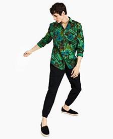 Men's Regular-Fit Over-Dyed jungle-Print Poplin Shirt, Created for Macy's