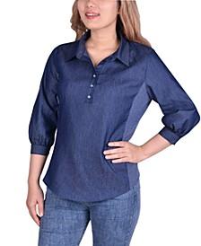 Petite Chambray Knit-Panel Popover Shirt