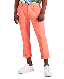 Men's Slim-Fit Pleated Cropped Dress Pants, Created for Macy's